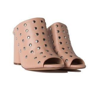 Tan studded mules